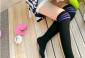 AVIVI推荐 日韩校园风 过膝袜 显瘦腿纯棉黑白条纹中筒袜